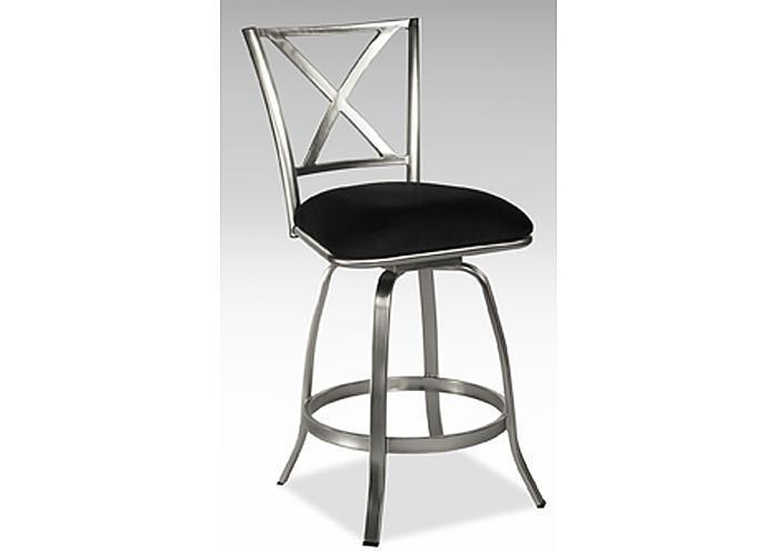 Mr Bar Stool X Back Brushed Steel Counter Height Swivel